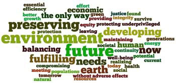 Word cloud of sustainable development ideas. Image Credit: National Institute of Environmental Health Sciences.