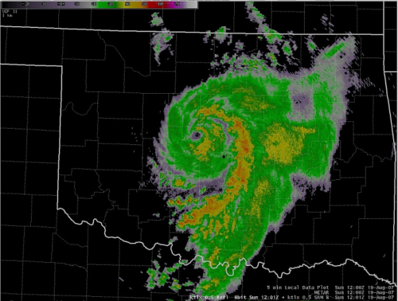 WSR-88D radar reflectivity image over Oklahoma at 1200 UTC 19 August 2007. Graphi c courtesy of the National Weather Service Forecast Office in Norman, Oklahoma