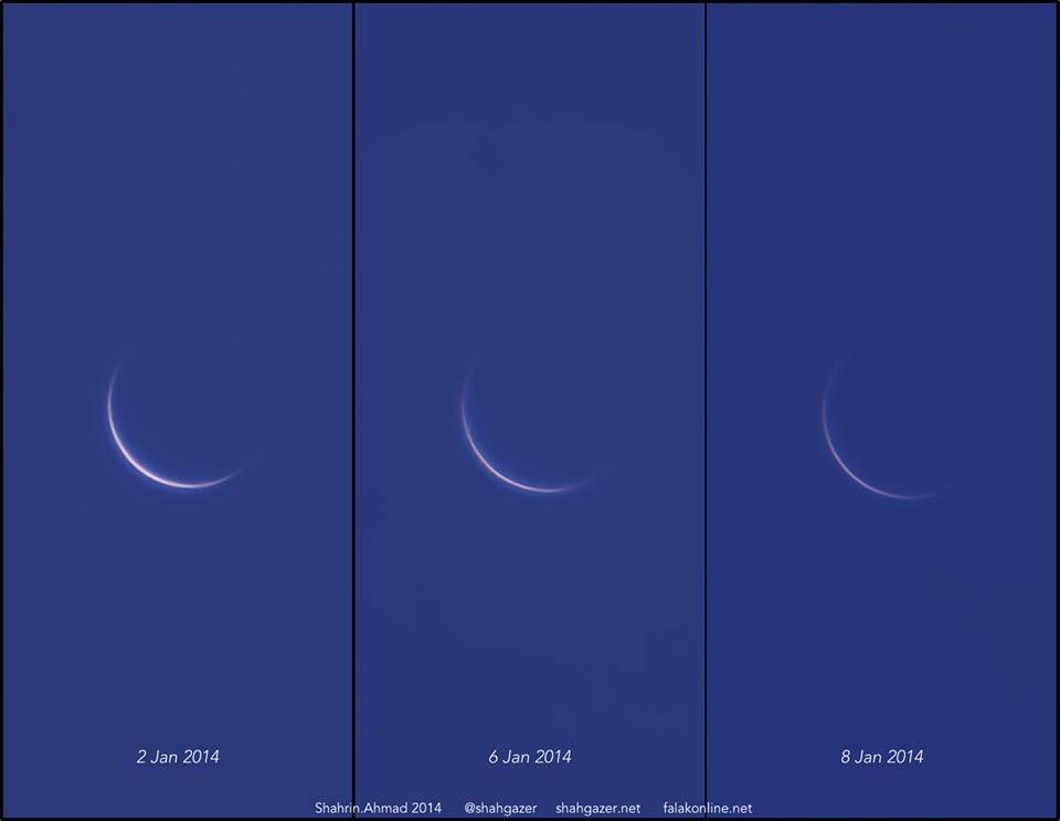 View larger. | Venus waning in the evening sky from Jan. 2, 2014 to Jan. 8, 2014. Photo by Shahrin Ahmad. Thank you, Shahrin!