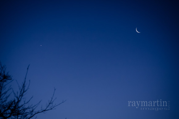 Ray Klinger captured the moon and Venus on January 28, too.  He wrote,
