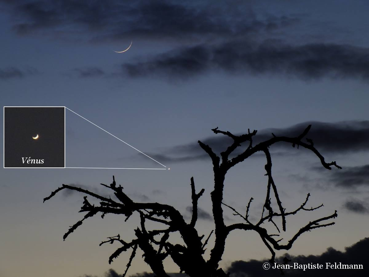 View larger. | Jean-Baptiste Feldmann captured this photo of a thin crescent moon - and a thin crescent Venus - on Thursday, January 2, 2014.  You need a telescope to see Venus as a crescent.  Visit Jean-Baptiste Feldmann Photogrpahies on Facebook