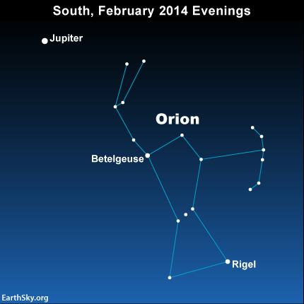 On February 2014 evenings, the Orion stars Betelgeuse and Rigel line up, or nearly line up, with the dazzling planet Jupiter.