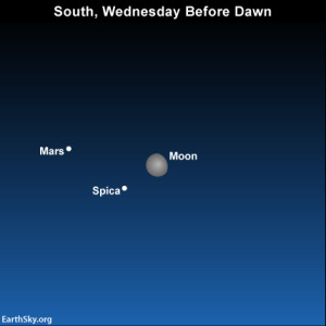 The moon, Spica and Mars before dawn on Wednesday, February 19