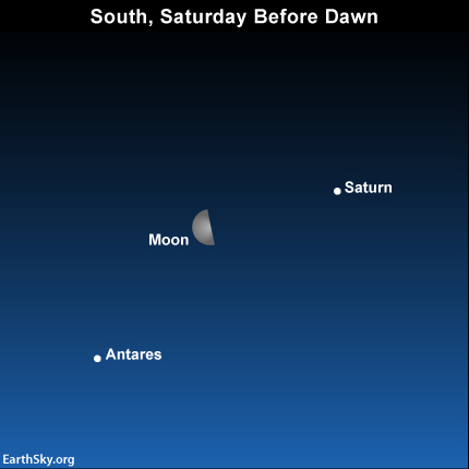 Moon and Saturn as seen from North America before dawn on Saturday, February 22, 2014.