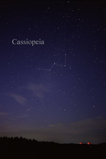 Star field above landscape with lines drawn between stars of Cassiopeia.