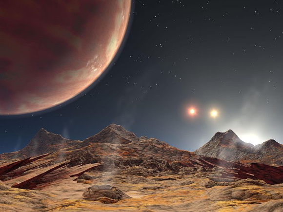 Artist's conception of the view from the (hypothetical) moon of the planet HD 188753 Ab (upper left) and the binary star HD 188753 BC over the moon's horizon. Image credit: NASA