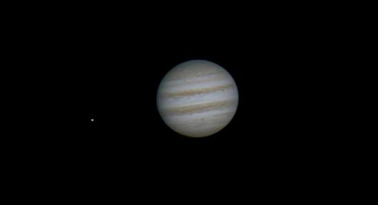 Jupiter and one of its moons, Io, on February 28, 2014 via Earthsky Facebook friend Derek Brookes.  Thank you, Derek!