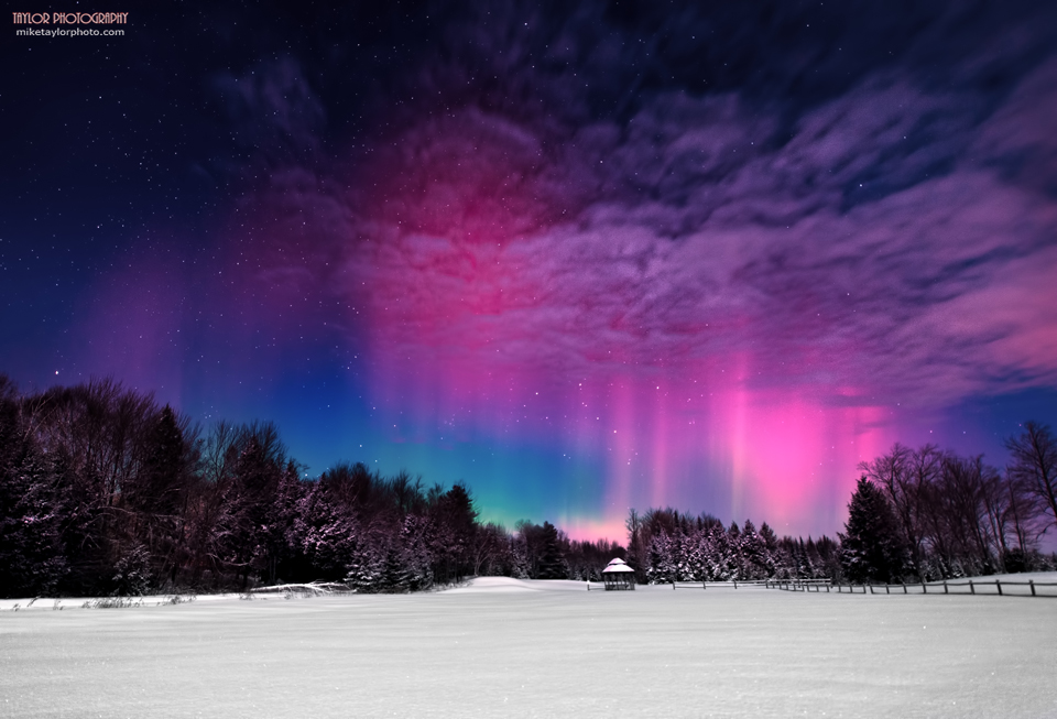 View larger. | Mike Taylor calls this photo Moonlight Aurora II.  He captured it on February 19, 2014.