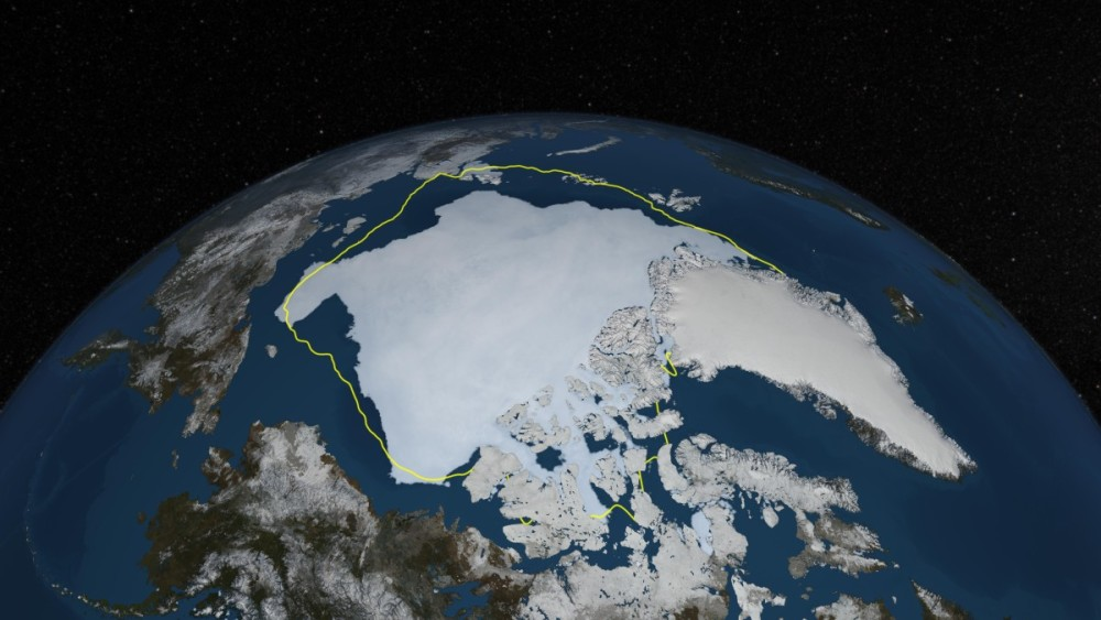 This image shows a visualization of Arctic sea ice cover on Sept. 12, 2013 - the estimated date of Arctic sea ice minimum for 2013 - with a yellow line showing the 30-year average minimum extent. Last year's sea ice minimum extent was substantially higher than the record low 2012 minimum, but still the sixth-lowest extent of the satellite record.  Image via NASA Goddard's Scientific Visualization Studio/Cindy Starr