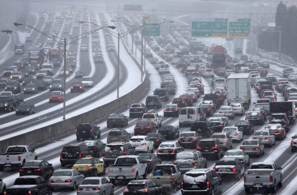 Atlanta traffic at a stand still on January 28-29, 2014. Image Credit: AJC photographer Ben Gray