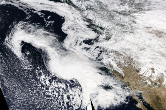 Visible satellite imagery from NASA on February 27, 2014 off the west coast of North America. Does it look like a seahorse to you?