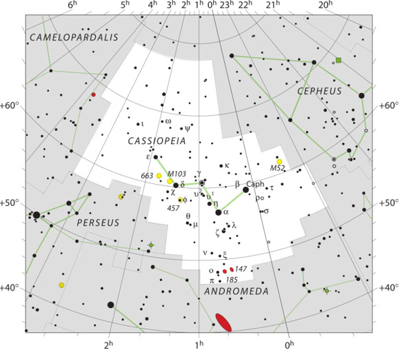 The official borders of the constellation Cassiopeia (and all 88 constellations) were drawn up by the International Astronomers Union in the 1930's. Read more