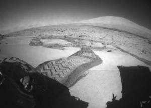 Looking back along Curiosity's path on Mars