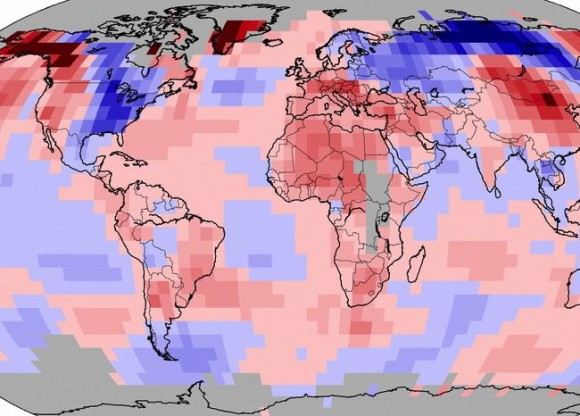 January 2014 blended land and sea surface temperature anomalies via NOAA