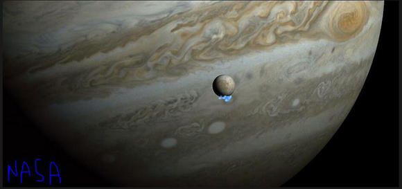 Jupiter and its moon, Europa, thanks to NASA's Galileo spacecraft. Europa is believed to have a liquid ocean beneath its icy crust. We are probably seeing water plumes erupting from Europa's surface. Image credit: tonytetone