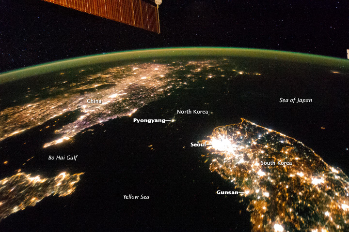 View from space: The Koreas at night