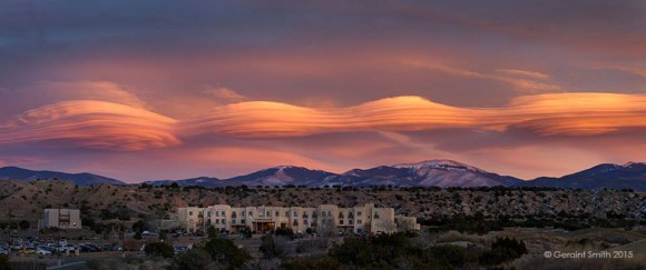 View larger. | Lenticular clouds over Sangre de Cristos mountains, New Mexico, by EarthSky Facebook friend Geraint Smith.