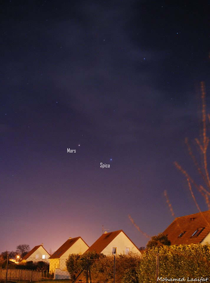 Mars and Spica on February 8, 2014.  Photo by Mohammed Laaifat Photographies.   View on Mohammed's Flickr page.