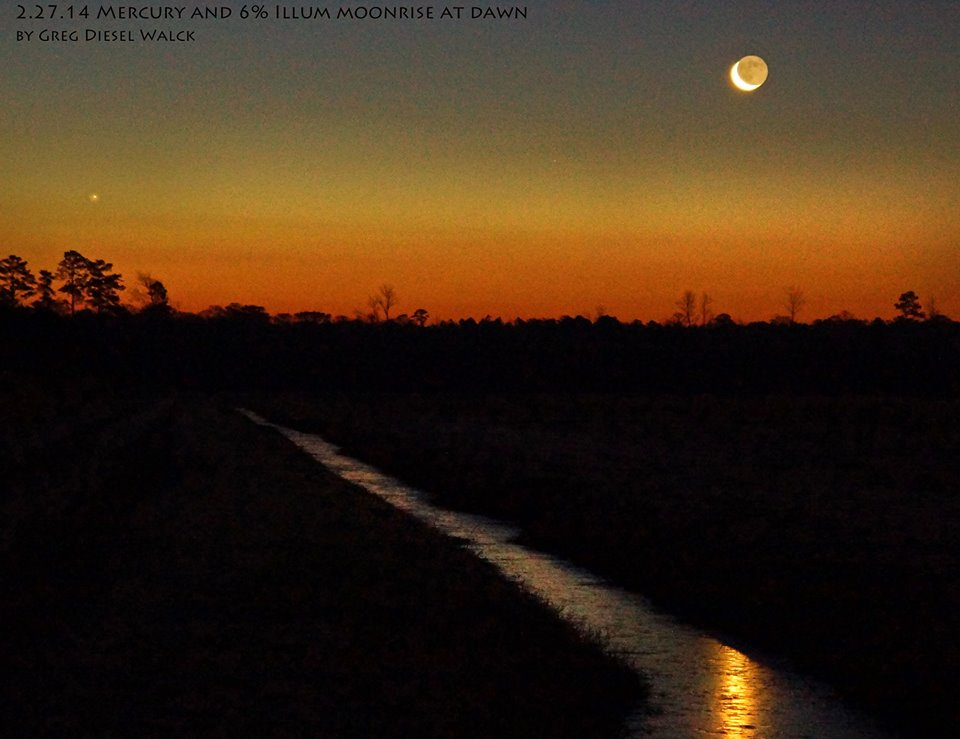 View larger. | GregDiesel Landscape Photography captured this photo of the moon and Mercury on February 27.   It was the only Mercury photo we saw that day, and what a beauty.   Visit GregDiesel Landscape Photography's online gallery on Facebook.