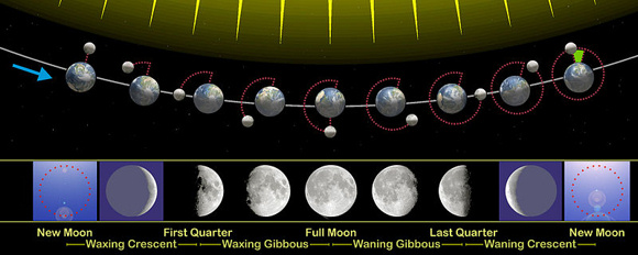The moon's (and Earth's) orbit in one lunar month (new moon to new moon) as seen from north of the ecliptic - Earth's orbital plane. Sun is at top, outside the illustration. New moon at extreme right and left. Full moon at center. Click here for larger chart and more detailed explanation.