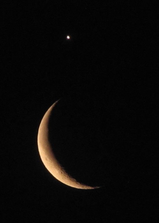 Moon and Venus on February 26 as captured by Vlado Bojko in Trnava, Slovakia.