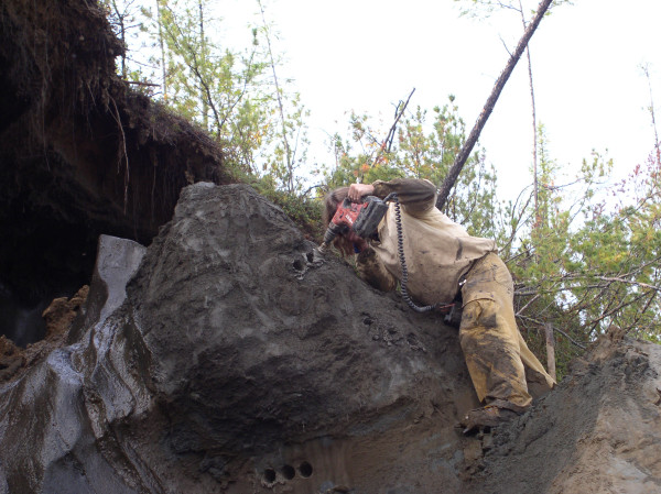 Boring into the permafrost to obtain plant samples. Image credit: Eske Willerslev.