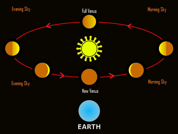 Venus transitions to the morning sky at new phase and into the evening sky at full phase. Venus and all the solar system planets go  counterclockwise around the sun as seen from the north side of the solar system plane, as in this diagram.