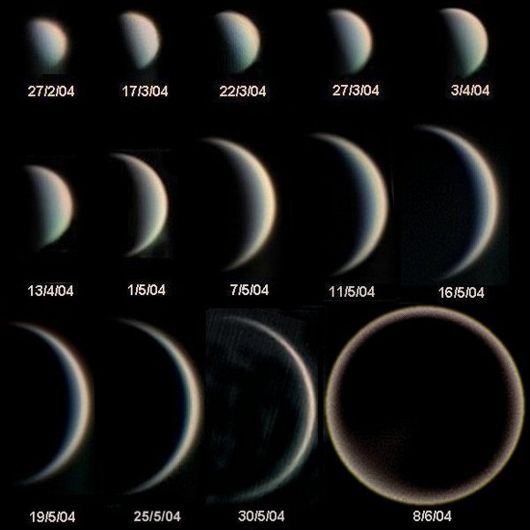 14 images of Venus from small and gibbous through crescent to large and new (mostly black).