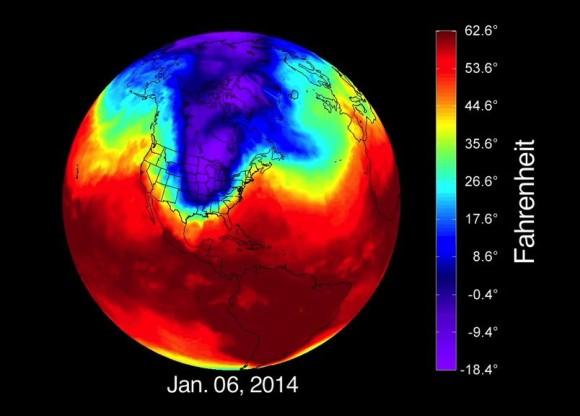 Polar vortex on Jan. 6, 2014 via NASA