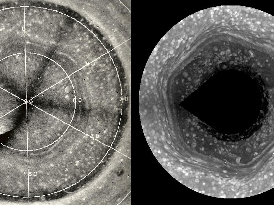 View larger. | Scientists have been puzzling over Saturn's hexagon for years, since it's discovery by the Voyager 1 spacecraft in 1980. In 1988, David A. Godfrey of NOAO used images obtained by Voyager 2 in 1981 to create the mosaic image on the left. He added a grid showing latitude and longitude. The mosaic image on the right was created from images obtained by NASA's Cassini spacecraft on Jan. 3, 2009. Image Credit: D.A. Godfrey, NASA/JPL/SSI.