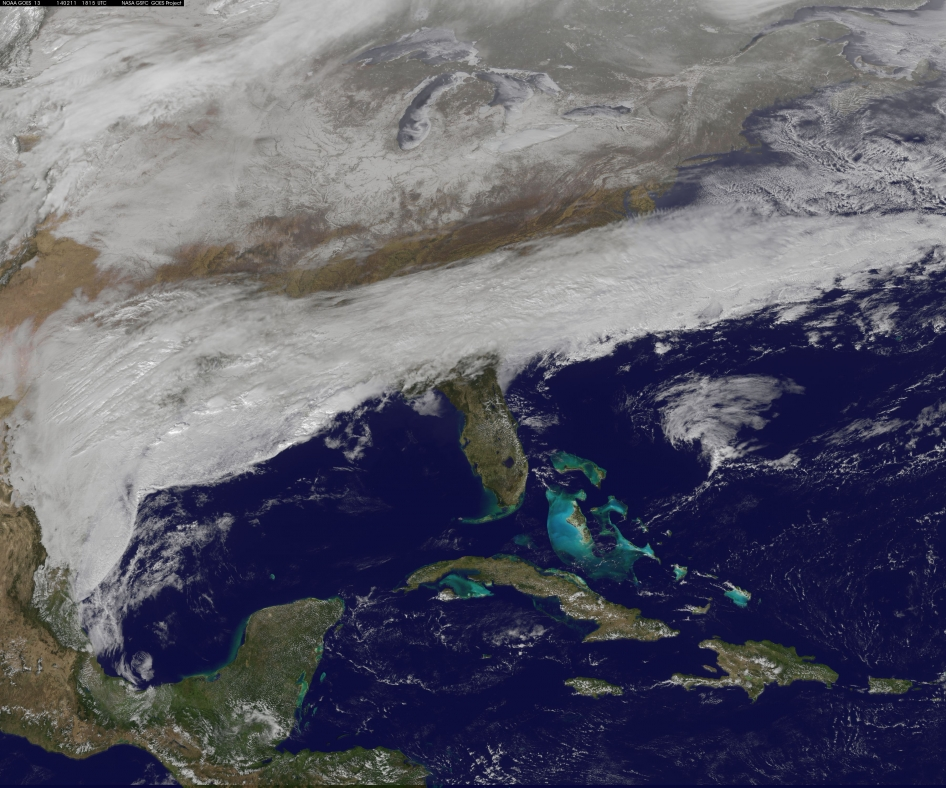 A major winter storm blanketing the U.S. South on February 11, 2014. Image from the GOES satellite, via Rob Gutro / NASA's Goddard Space Flight Center.