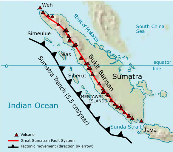 Several volcanoes dot the western coastline of Sumatra in Indonesia. Image Credit: Wikimedia Commons.