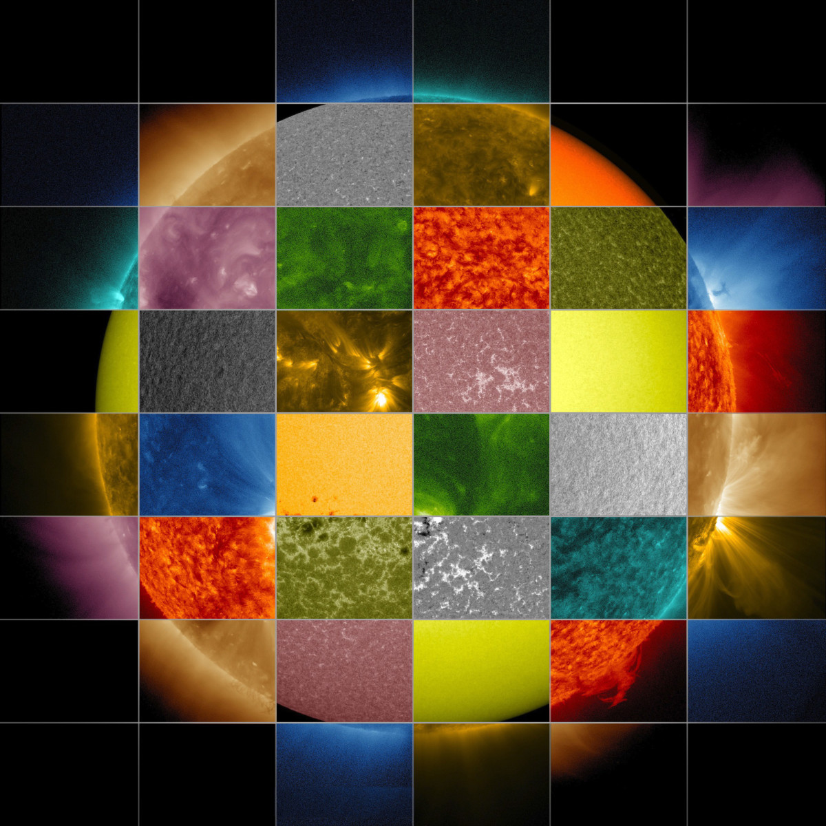 View larger. | When astronomers observe the sun at different wavelengths, the sun reveals itself differently.  Image via NASA/SDO/Goddard Space Flight Center.