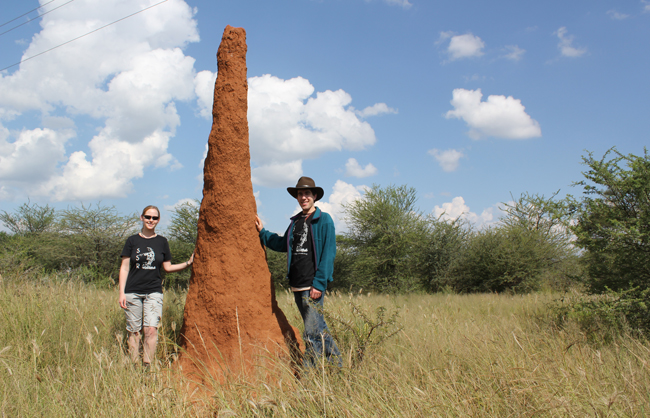 Harvard graduate student Kirstin Petersen and staff scientist Justin Werfel standing next to a termite mound in Namibia. Image credit: Radhika Nagpal.