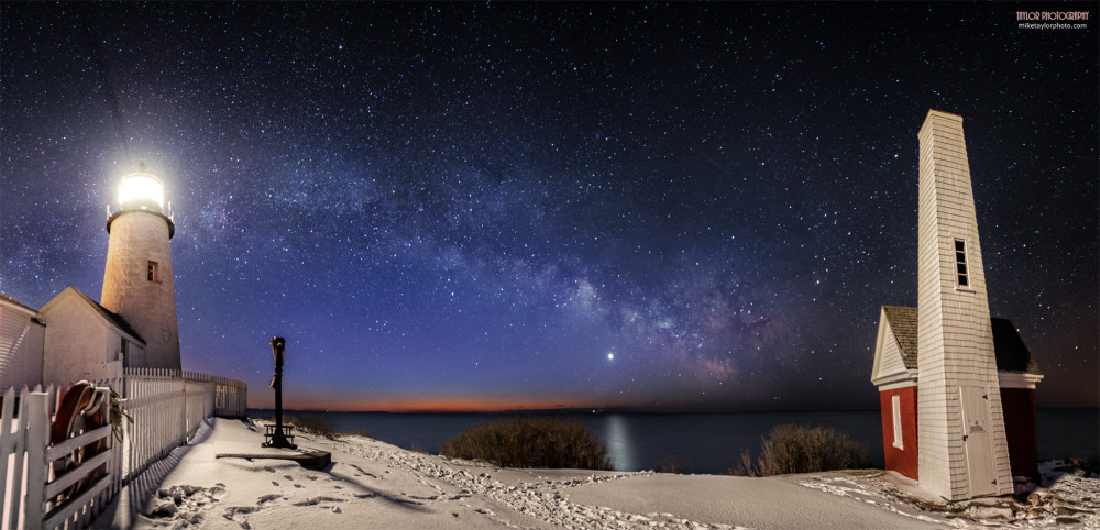 Venus in front of the Milky Way, rising over the eastern horizon before sunrise on February 8, 2013, as seen from Pemaquid Point Lighthouse in Bristol, Maine by Mike Taylor.  Visit Taylor Photography.
