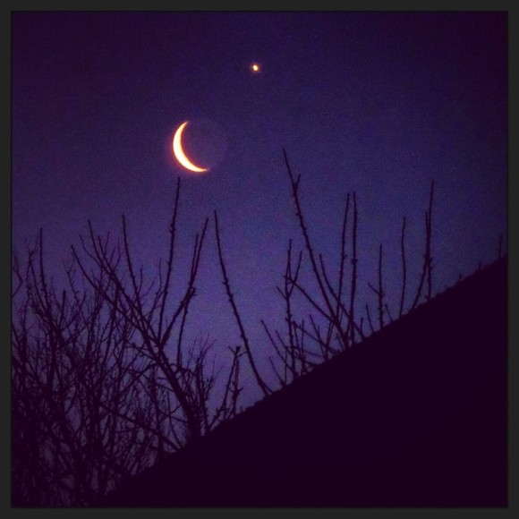Venus and moon on February 26 by Aliina Mayes