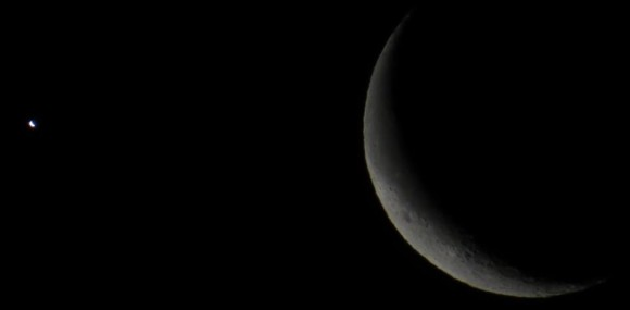 Gadi Eidelheit in Israel used a telescope to capture Venus and the moon on February 26.