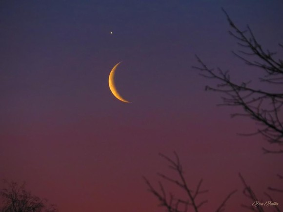 As the sky began to lighten, Vesa Taalikka also got this shot of Venus and the moon on February 26.