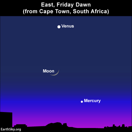 The moon, Venus and Mercury as seen from South Africa on Friday, March 28, 2014. Mercury will be much easier to spot before sunrise in the Southern Hemisphere.
