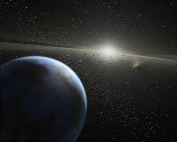 View full size. Artist's impression of a massive asteroid belt in orbit around a star. The new work shows that similar rubble around many white dwarfs contaminates these stars with rocky material and water. Credit: NASA-JPL / Caltech / T. Pyle (SSC)