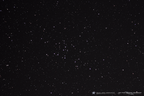 Scattered stars, with some closer together forming an open cluster.