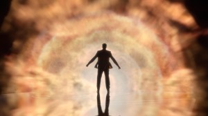 A silhouette of a person in front of cosmic-looking clouds.