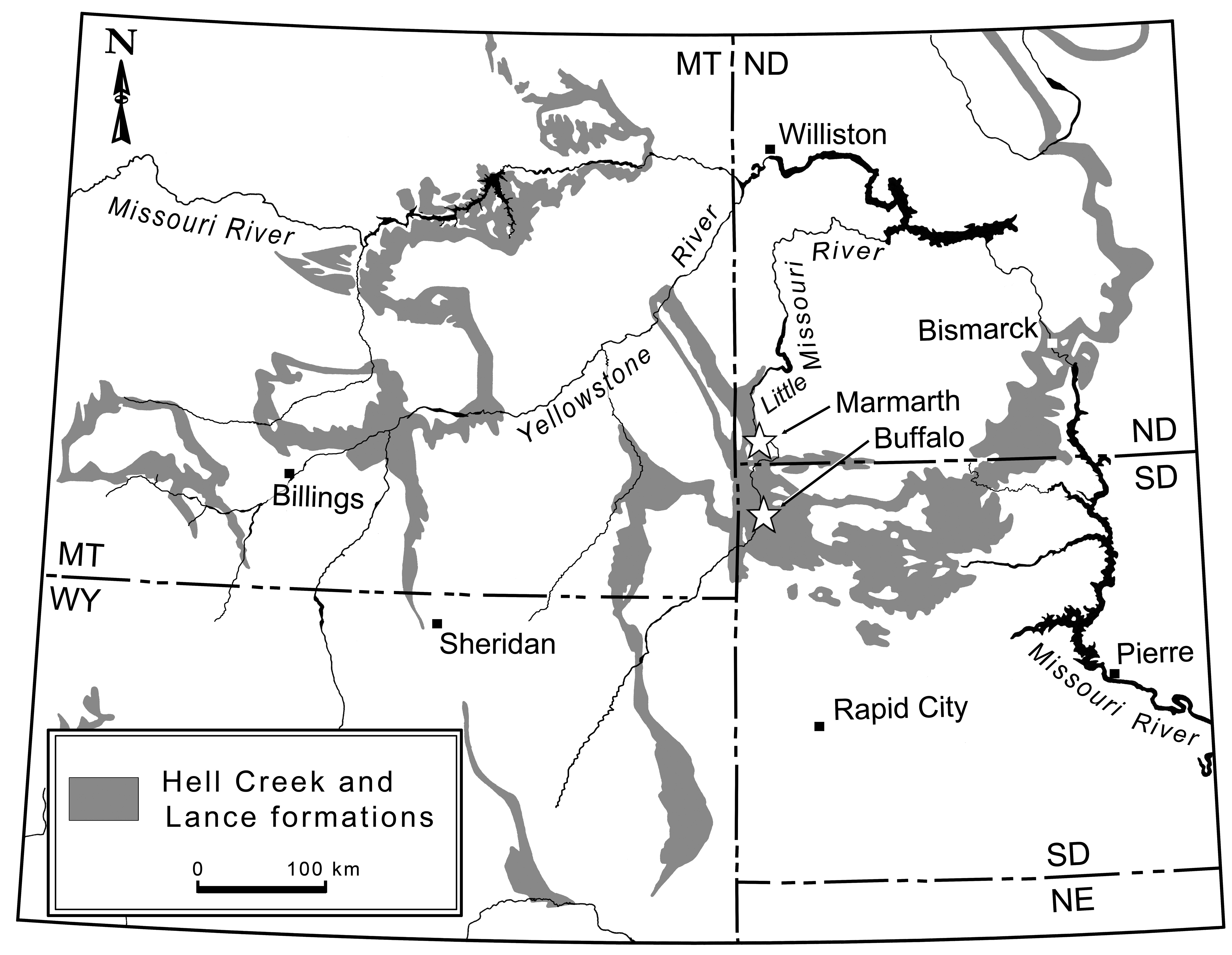 The Hell Creek formation, where three Anzu wyliei fossils were uncovered, lies in North and South Dakota. Image courtesy of Carnegie Museum of Natural History.