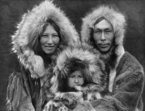 An Inupiat Eskimo family from Alaska in 1929, whose ancestors would have crossed Beringia thousands of years previously.  Image and caption via The Conversation.