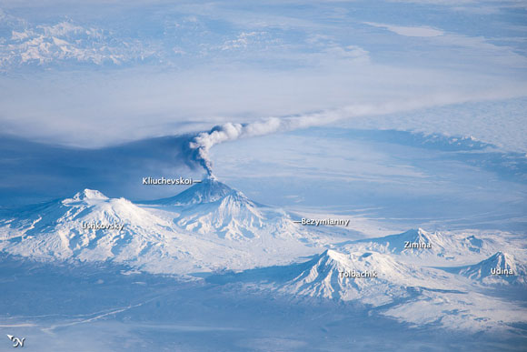 Volcanic activity on the Kamchatka Peninsula. Image Credit: NASA.
