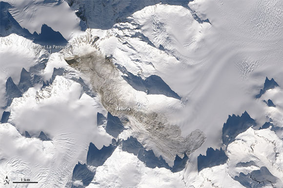 Satellite image of Mount La Perouse in Alaska after the February 2014 landslide. Image Credit: NASA.
