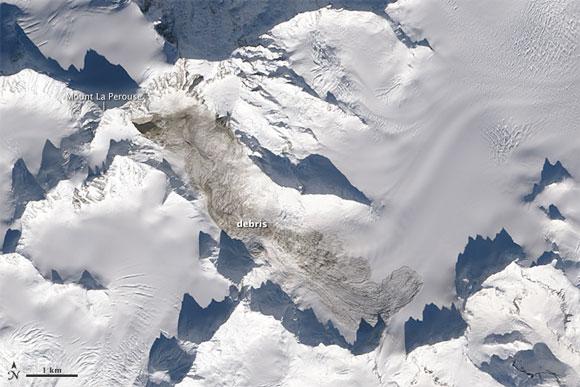 Satellite image of Mount La Perouse in Alaska after the February 2014 landslide. Image Credit: NASA.
