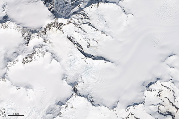 Satellite image of Mount La Perouse in Alaska before the February 2014 landslide. Image Credit: NASA.