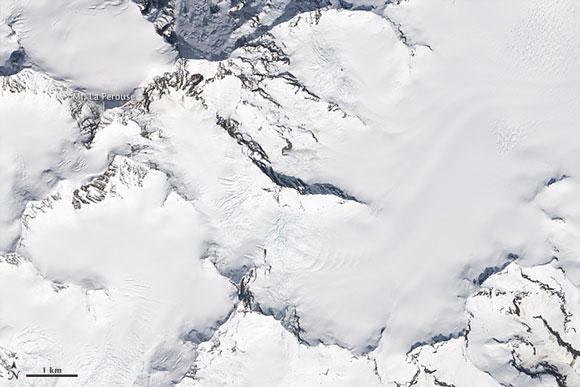 Satellite image of Mount La Perouse in Alaska before the February 2014 landslide. Image Credit: NASA.