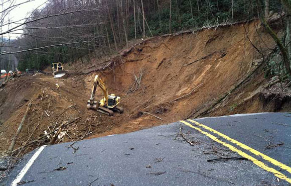 A 2013 landslide closes a road in the Great Smokey Mountains National Park. Image via the National Park Service.